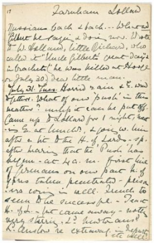 Lavinia's diary entry for 31 July commenting on the first day of Passchendaele and her nephew Oliver