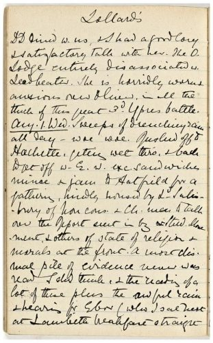Lavinia's diary entry for 1 August commenting on the weather