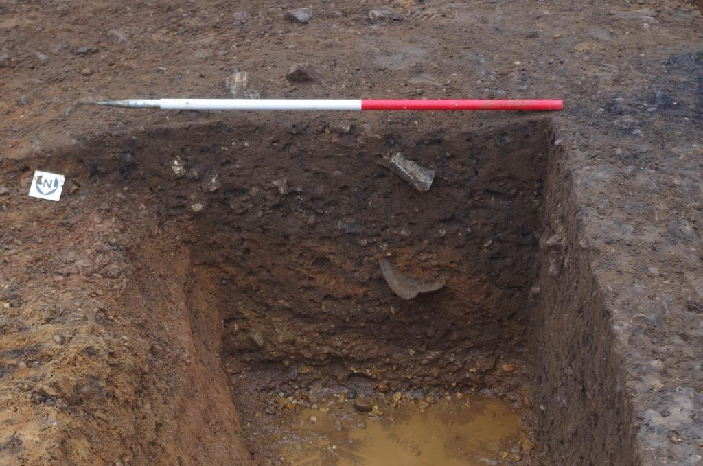 Excavated pit quadrant with pot protruding from side