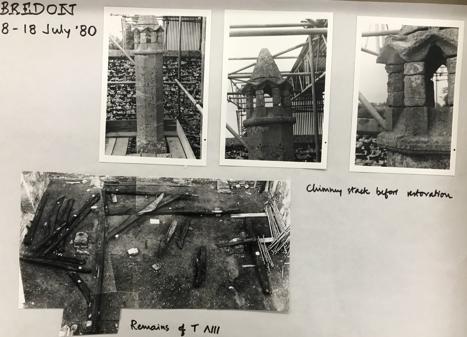 Photographs dated 8 – 18th July 1980, of the medieval stone chimney with conical roof and charred timbers laid out on the floor