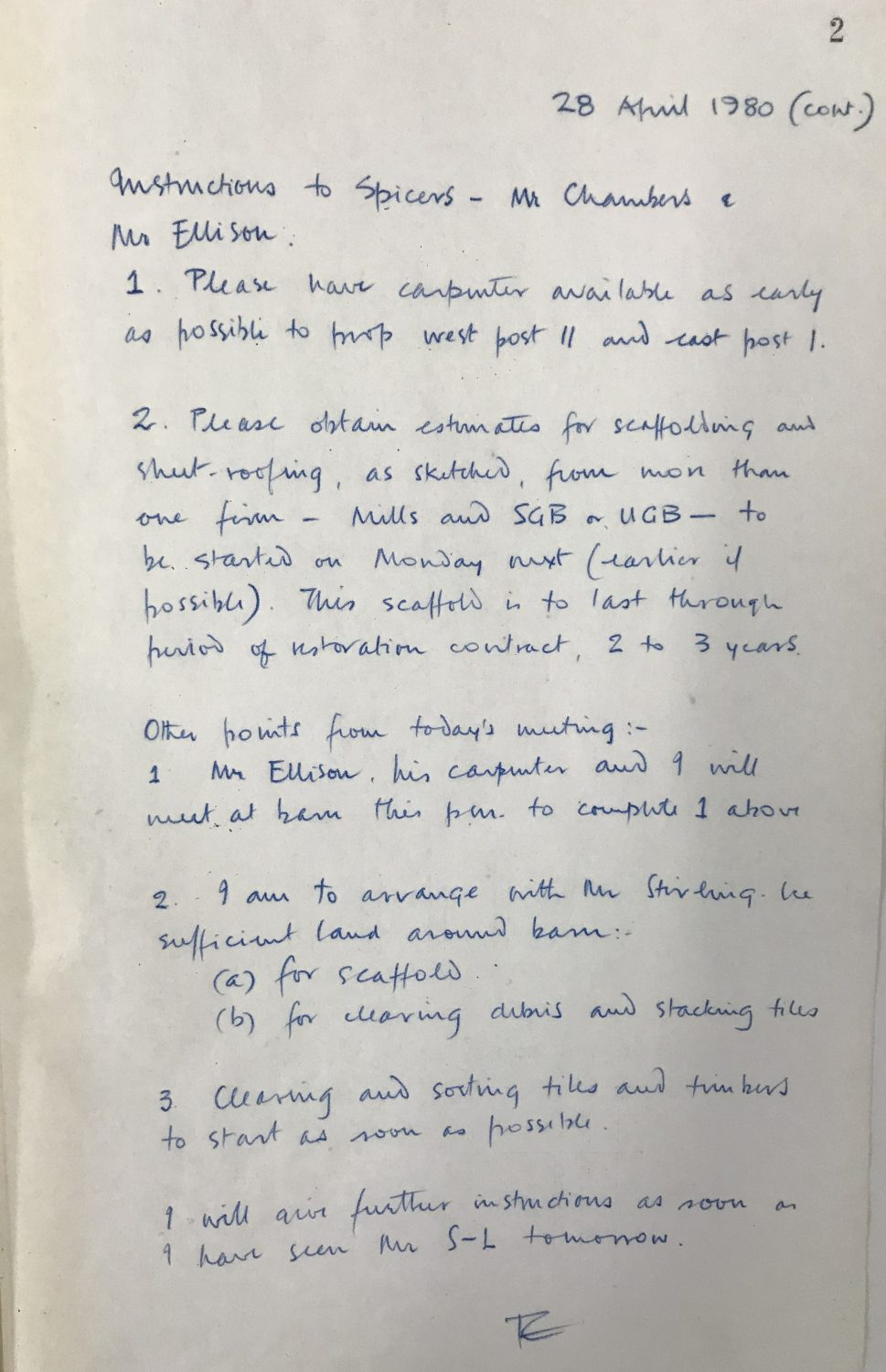 Written extract from Freddie's project work book; entry dated 28th April 1980.