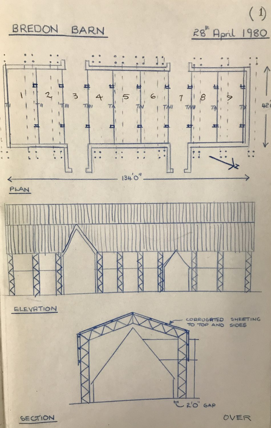 Pen drawings of the barn, and its 9 bays, from Freddie's project work book; entry dated 28th April 1980