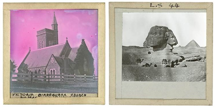 Two square slides of stone church and sphinx