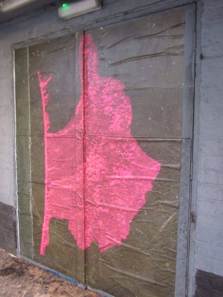 Blow up image pasted on doorway