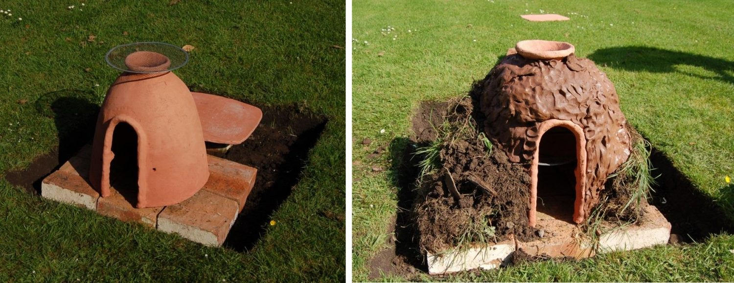 Before & after photos of oven covered in earth & clay