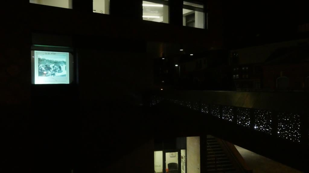 View of slide projection from bridge over The Butts