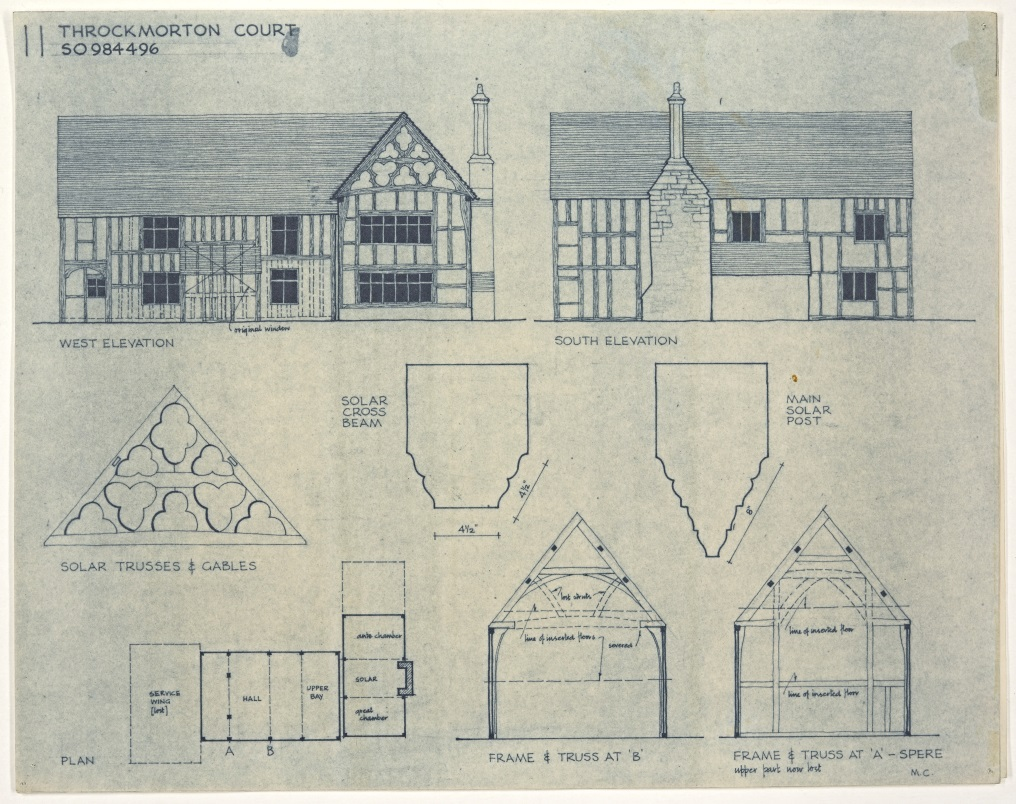 Digitised original drawings of elevations and internal details of Throckmorton Court by Mary Charles, used in their publication 'Conservation of Timber Buildings' (CA_BA12857-13-1_01) © Worcestershire County Council: Charles Archive Collection