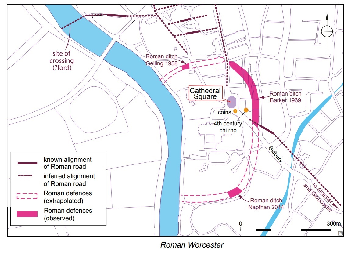 Map of Roman Worcester