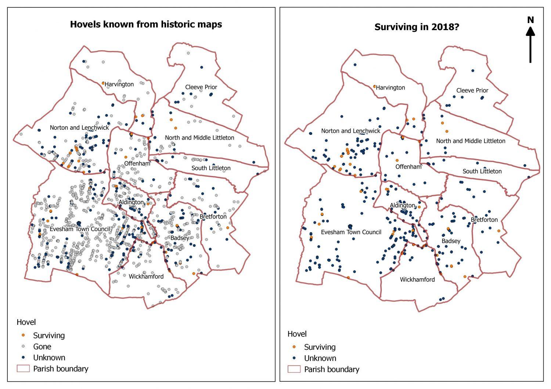 Comparison maps of hovel survival