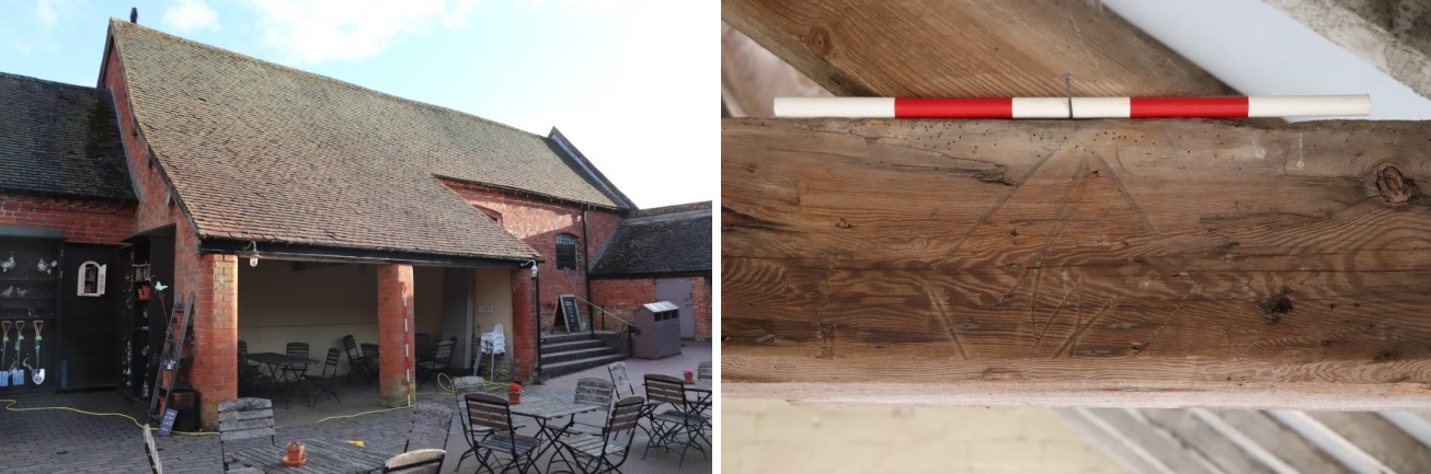 Brick shed & timber marks within