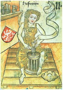 Woman at a potter's wheel on 15th century playing card