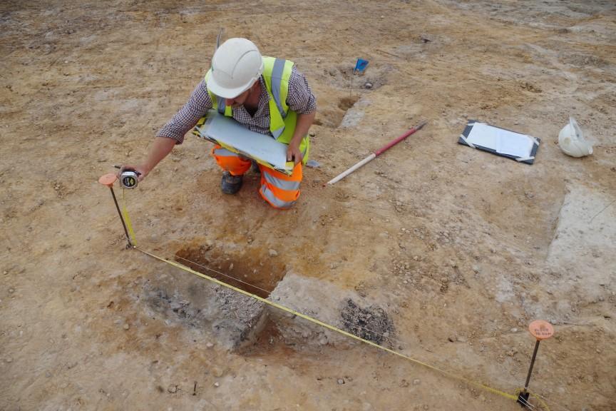 Excavation of cremation pit
