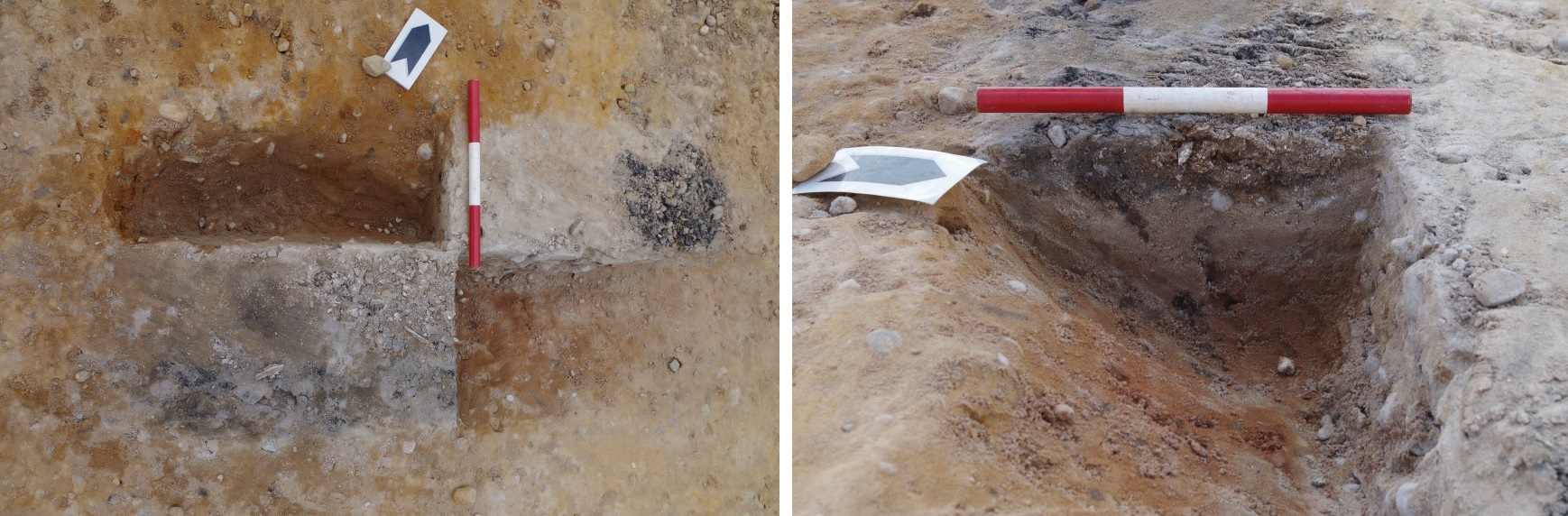Two photos of excavated cremation deposit