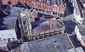 Aerial shot of St.Swithun's (Google maps)