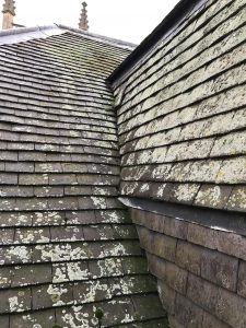 The original roof by the clock housing