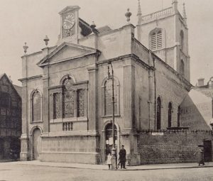St.Swithuns, showing east end from Worcester Herald of 1877