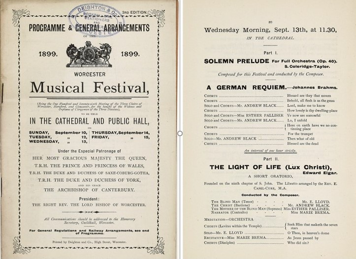 Three Choirs Festival Worcester programme 1899