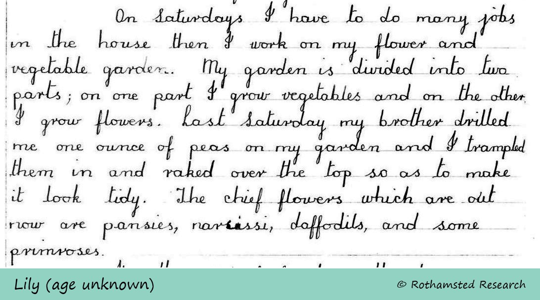 1933 letter extract - own garden