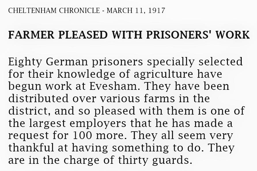 Farmers pleased with POW work - 1917 news