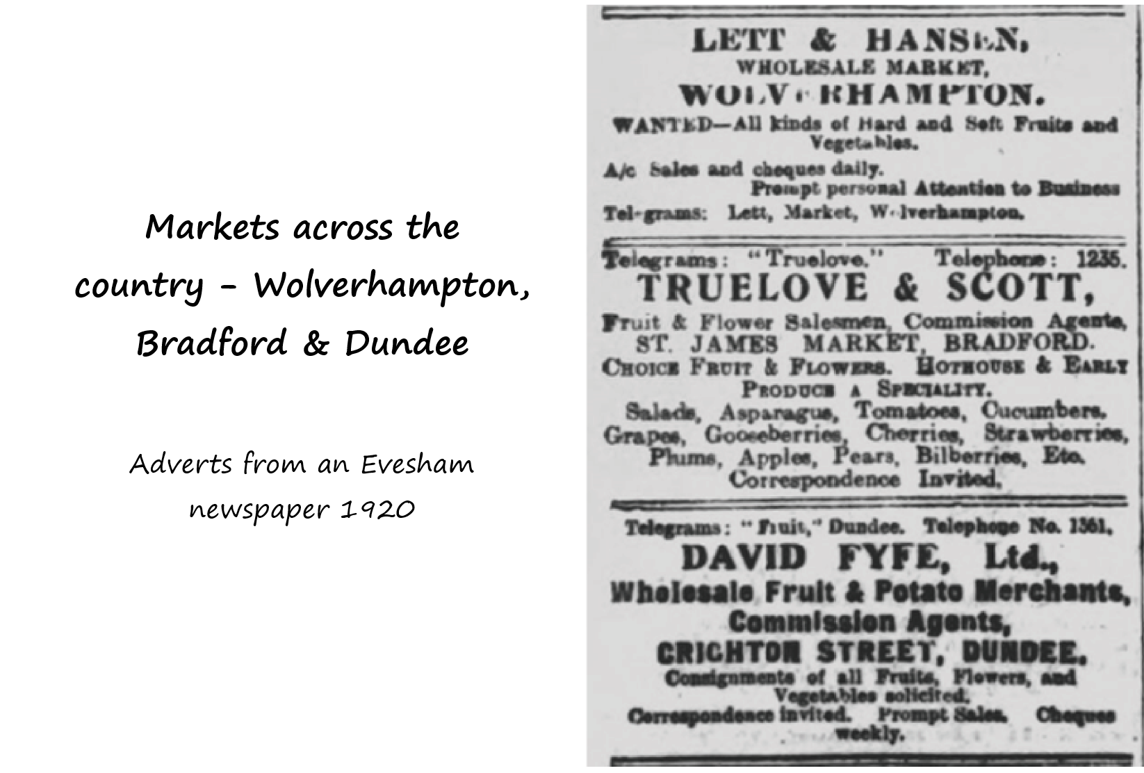 Ads for three distant markets
