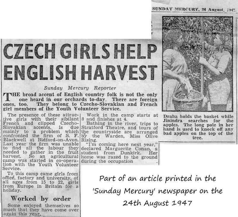 1947 news article 'Czech girls help English harvest'