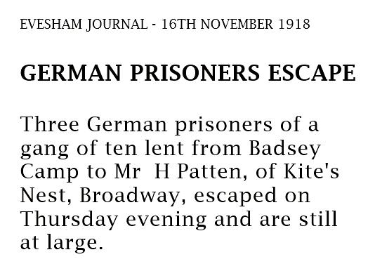 News of POW escape 1918