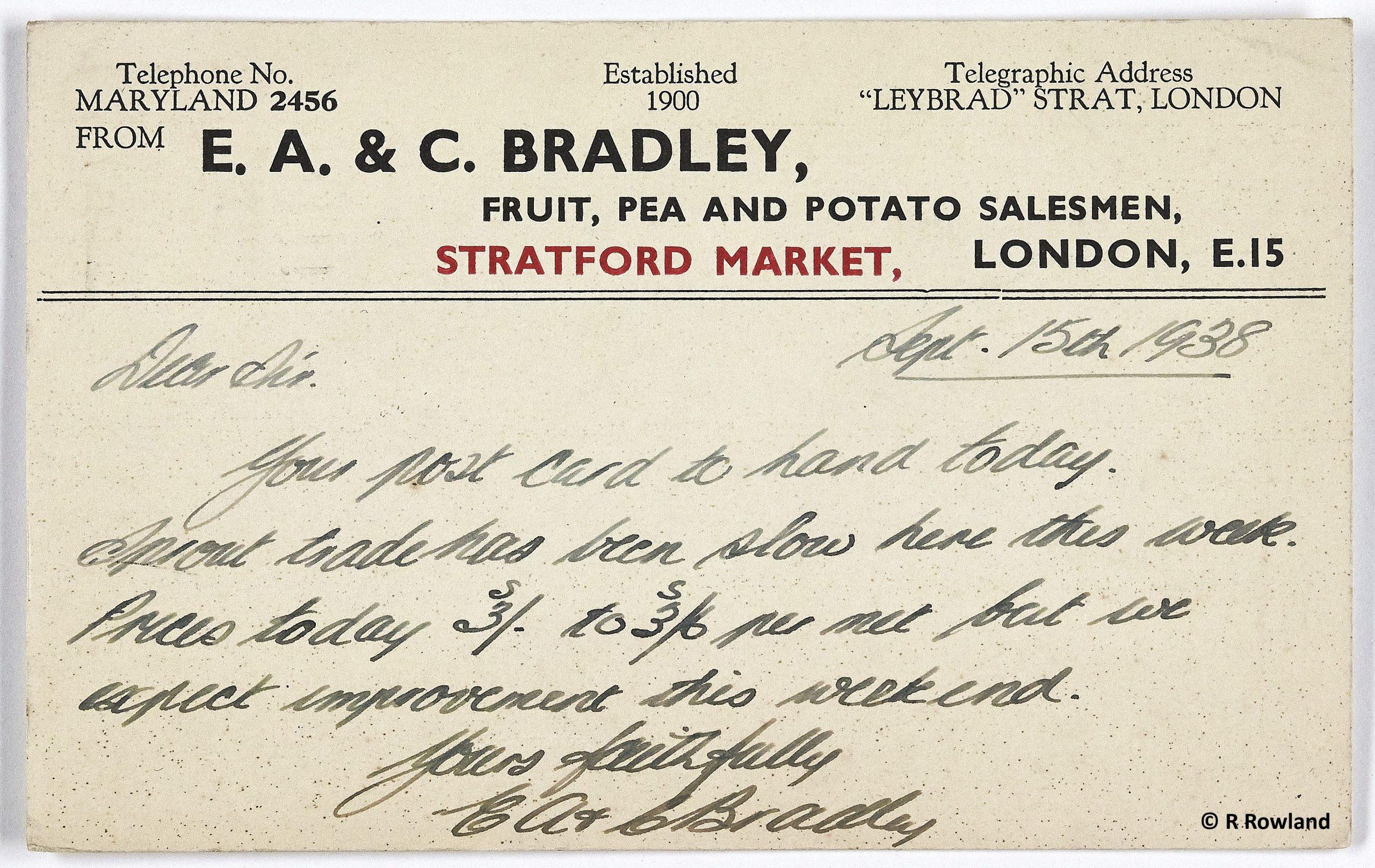 Postcard order 1938