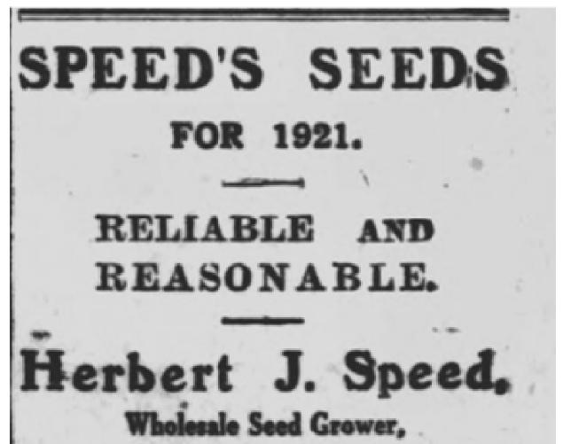 Speed's Seeds advert
