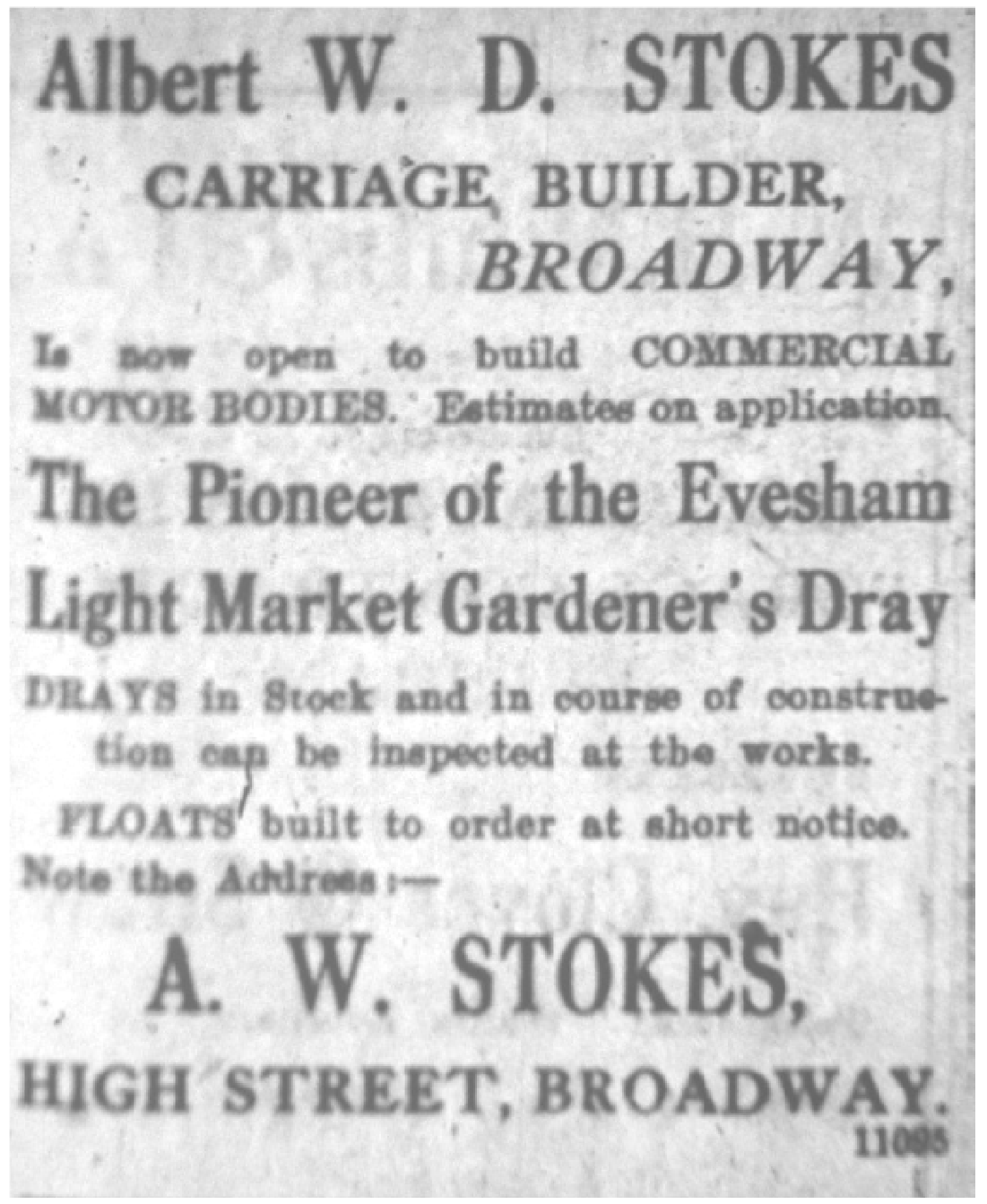 Advert for a carriage builder
