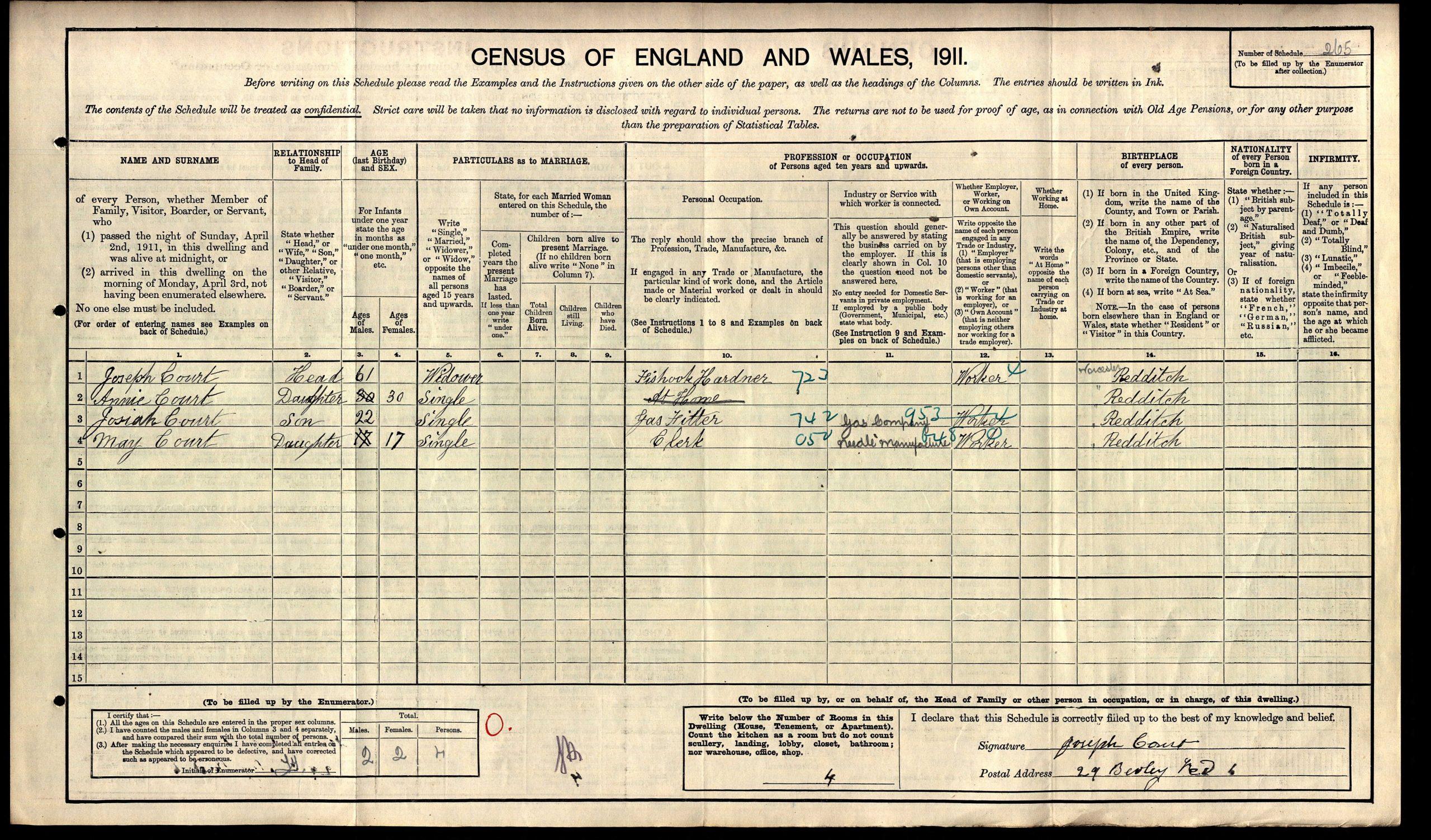 1991 Census Redditch Military Tribunals Josiah Court