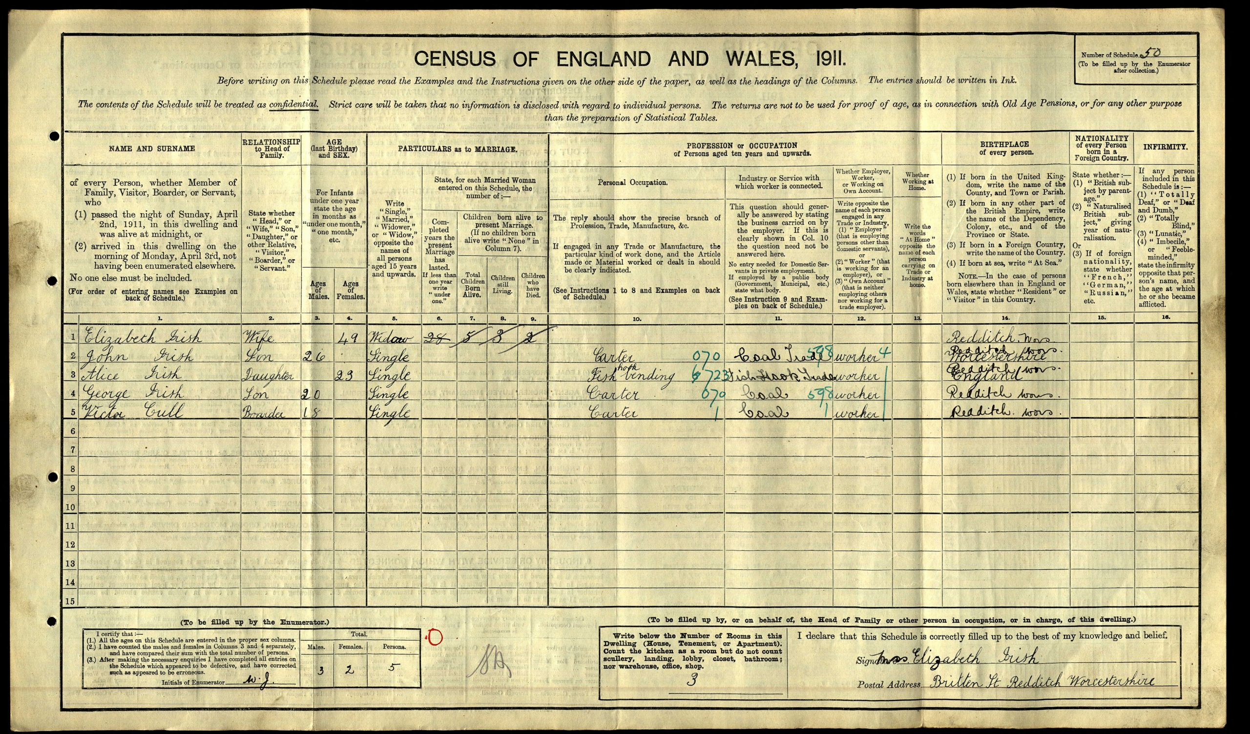 1911 census return for George Irish © Crown copyright courtesy of The National Archives
