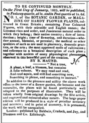 Advert for The Botanic Garden in the Berrows Worcester Journal on 25 Nov 1824