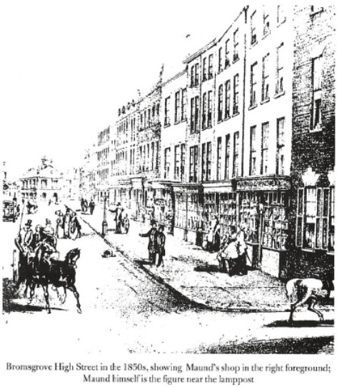 Bromsgrove High Street in the 1850's in The Reach of Print, (Cooper, M., Isaac 1998)