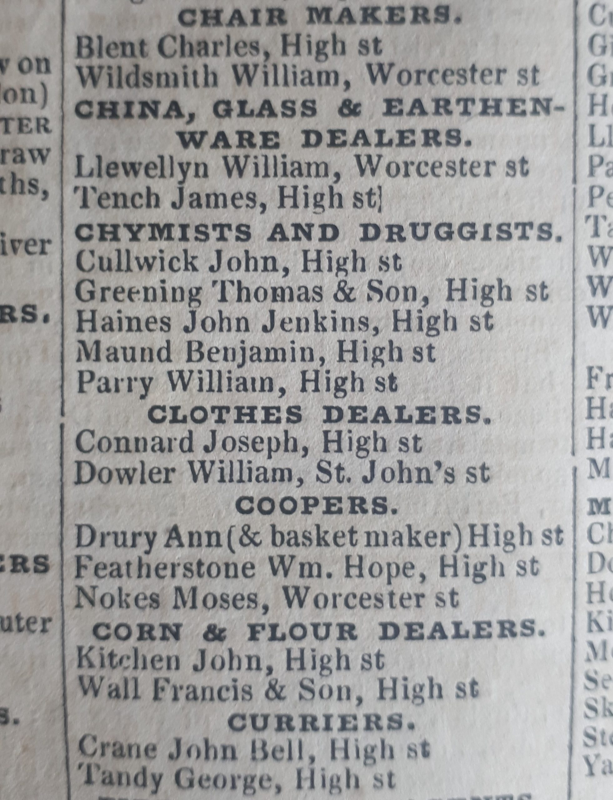 Evidence of Maund as a Chymist & Druggist in Piggot & Co. Commercial Directory, 1835