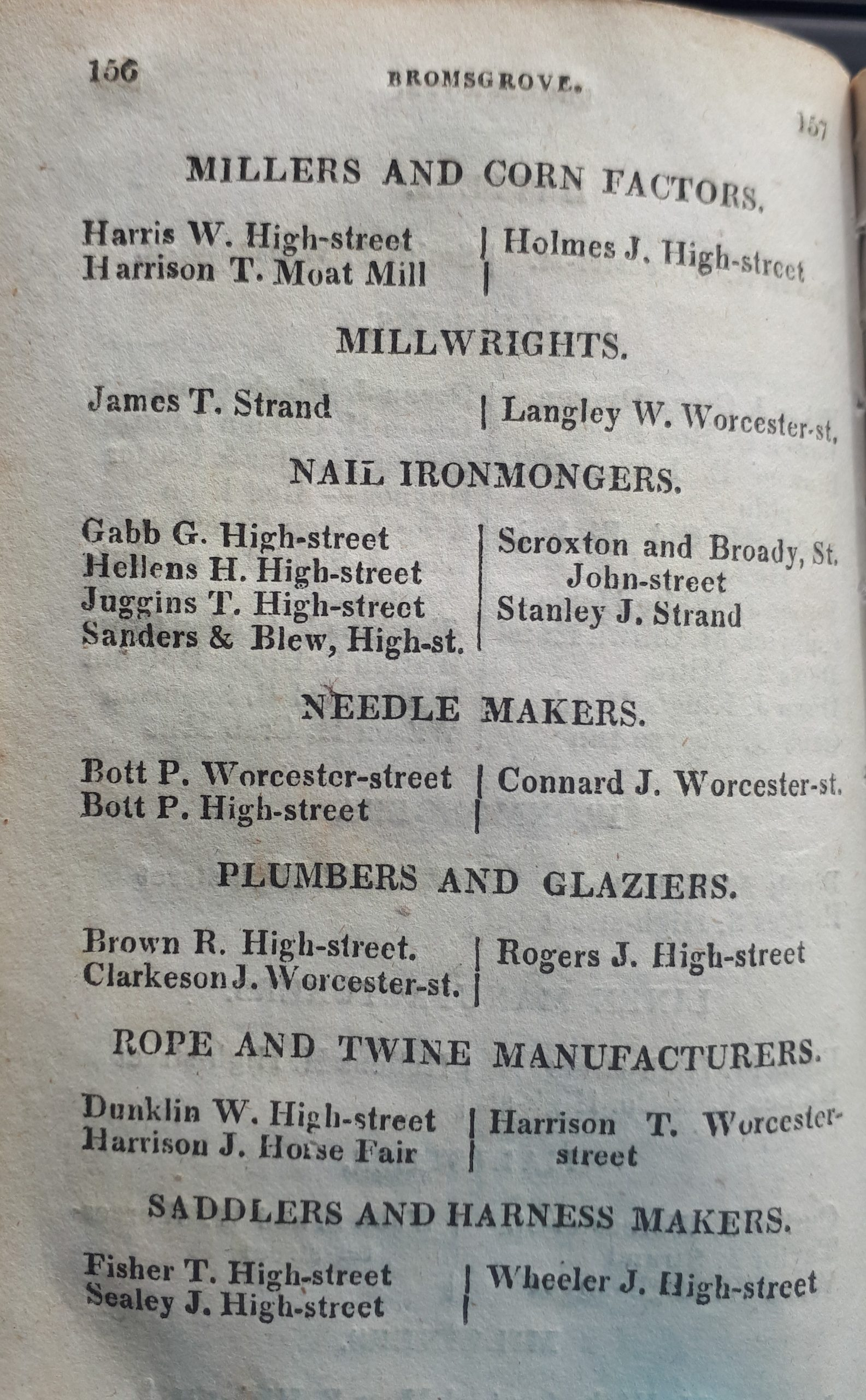 Examples of Bromsgrove Trades in Lewis, S. Worcestershire General & Commercial Directory, 1820