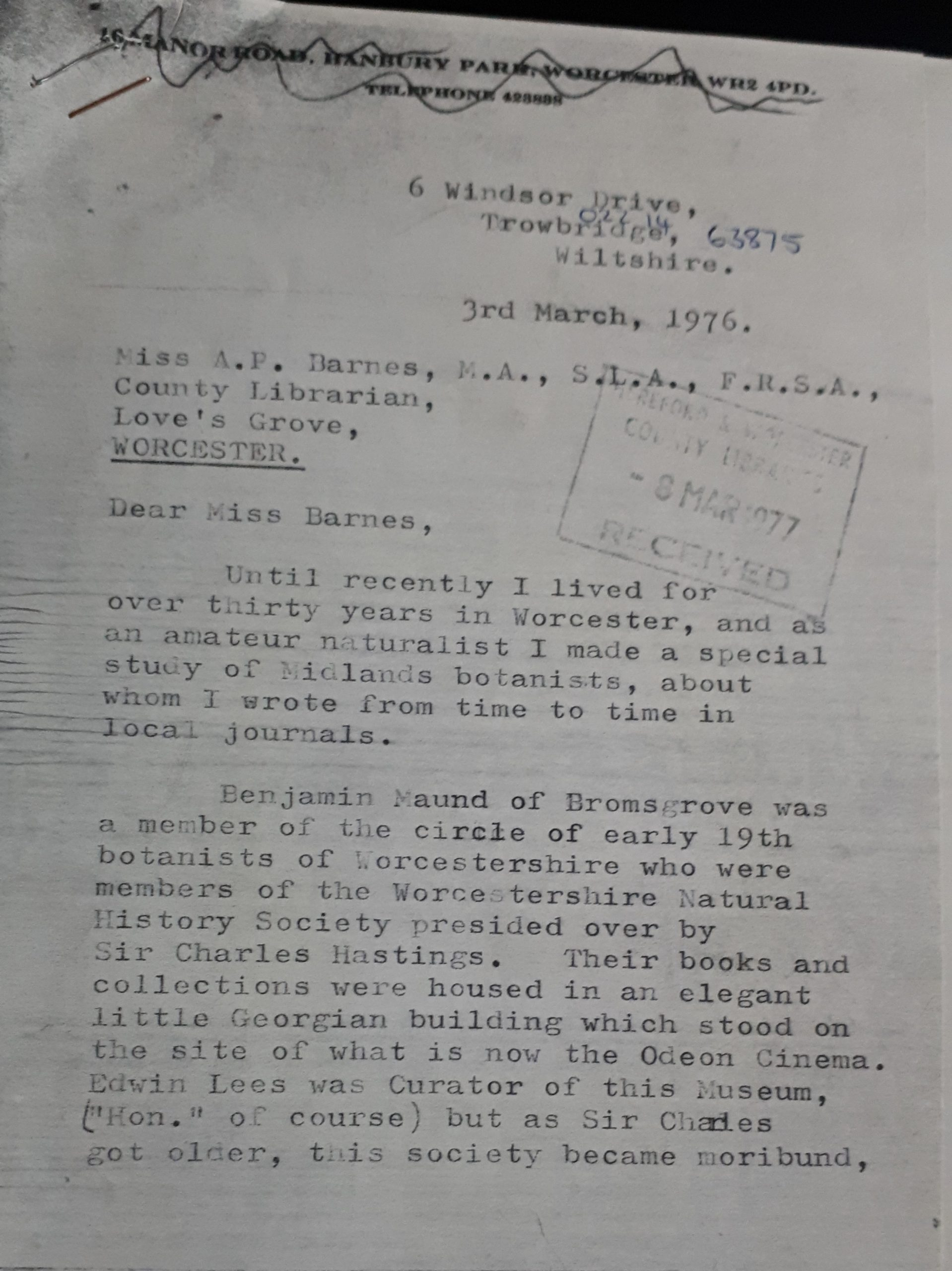 First page of the letter of Mrs Mary Jones to the County Librarian dated 3rd March 1976