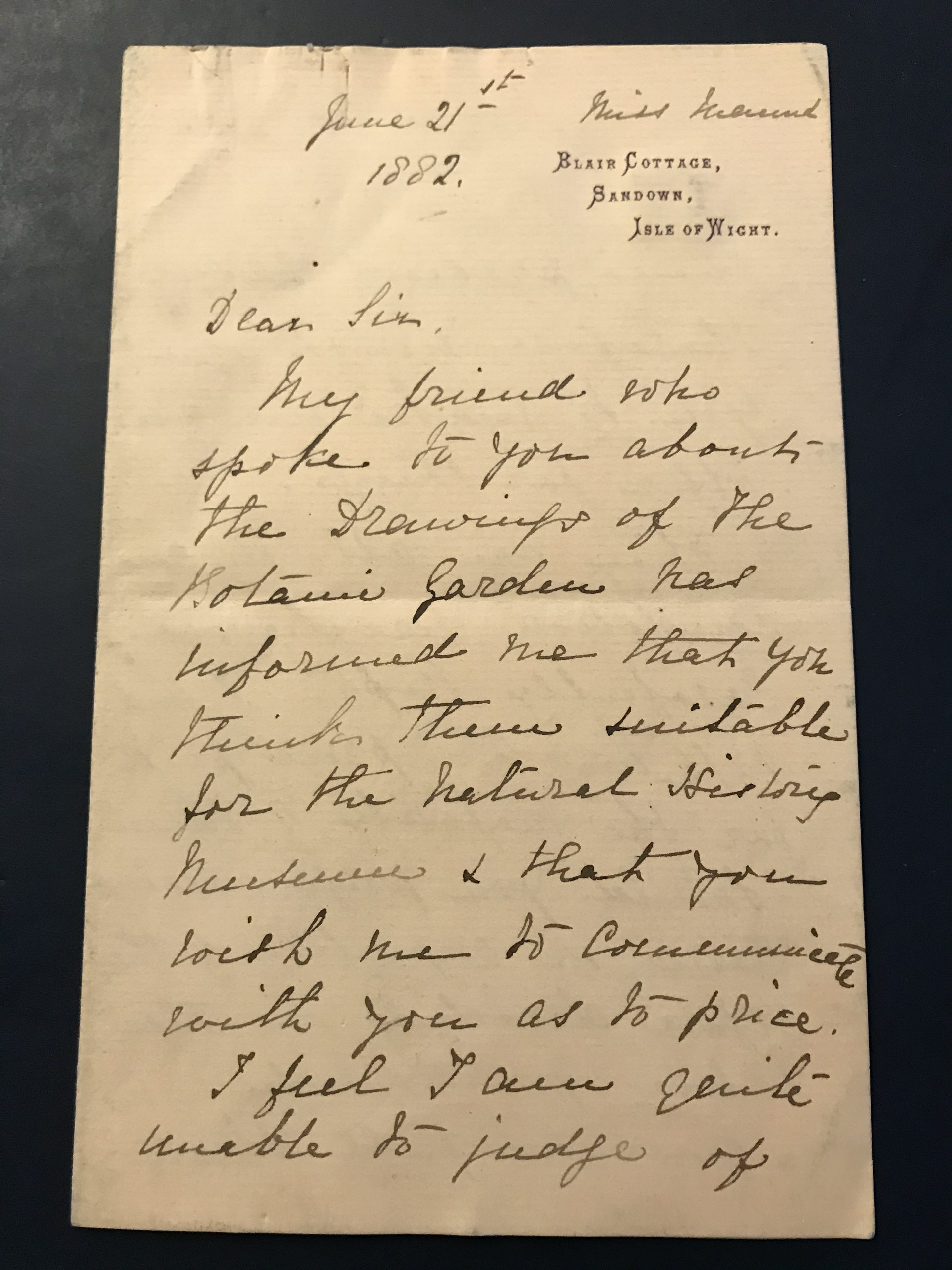 Letter from Sarah Maund dated June 21st 1882 to the Keeper of Botanical Dept. at the Natural History Museum