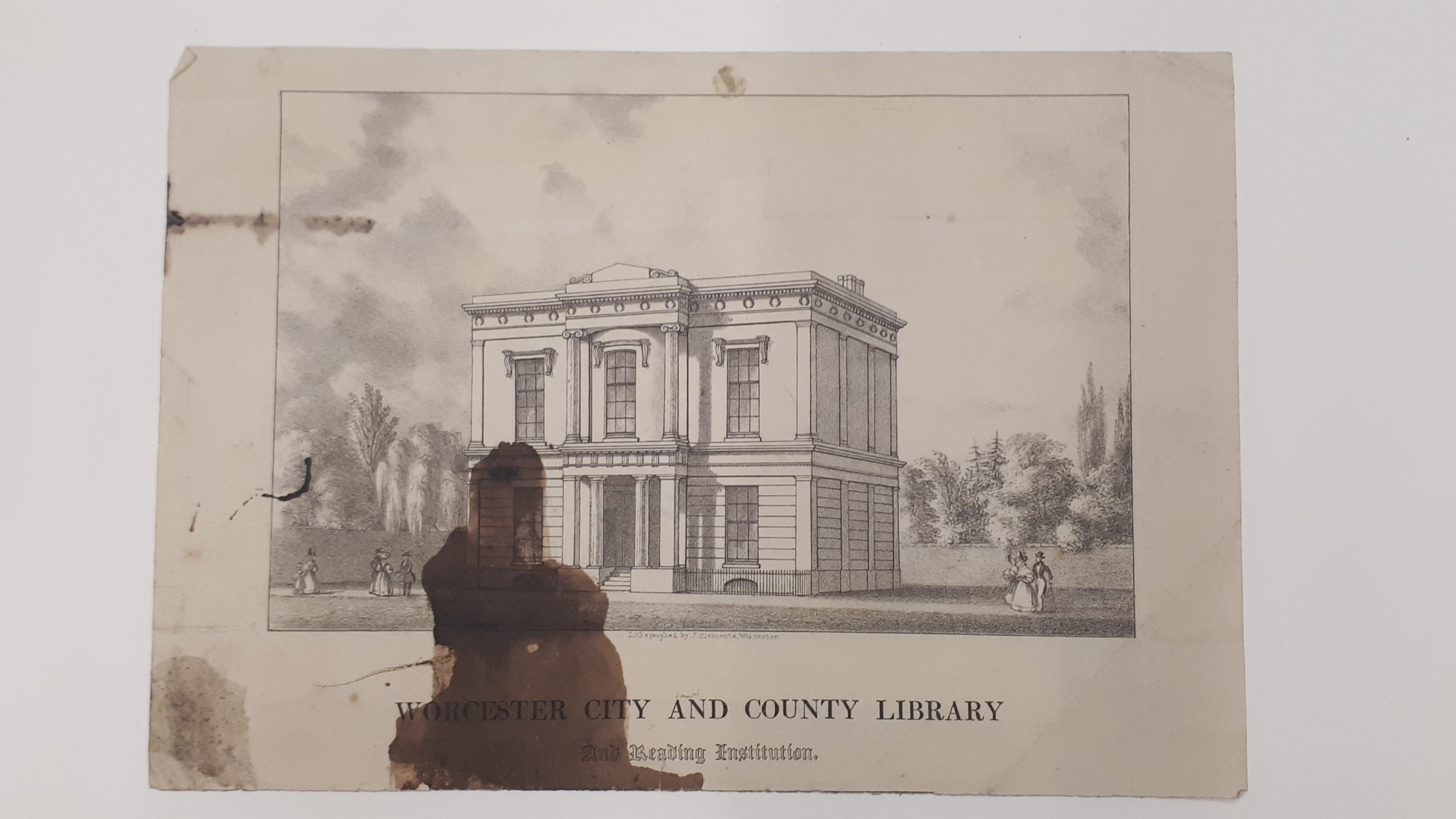 Lithograph of Worcester City Library & home of Worcestershire Literary & Scientific Institute founded on 12th January 1829