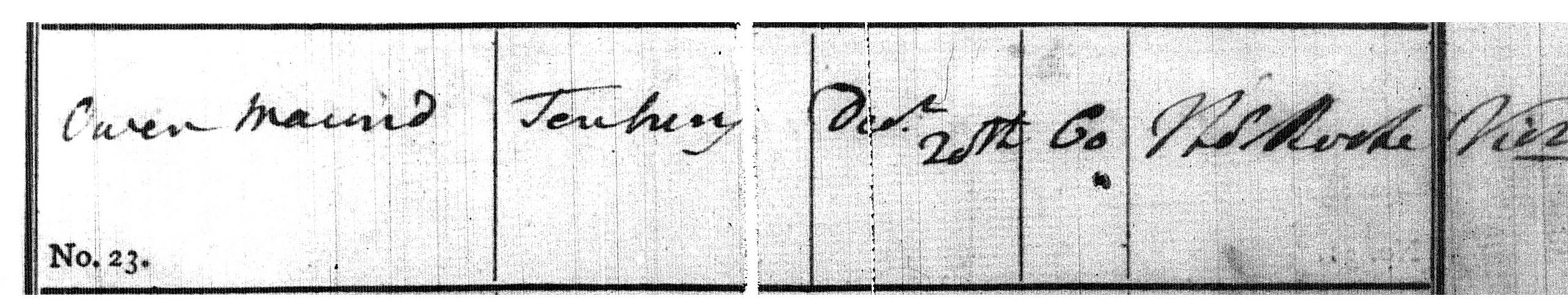Burial entry of Owen Maund, Tenbury Wells (St. Mary), 25th December 1813