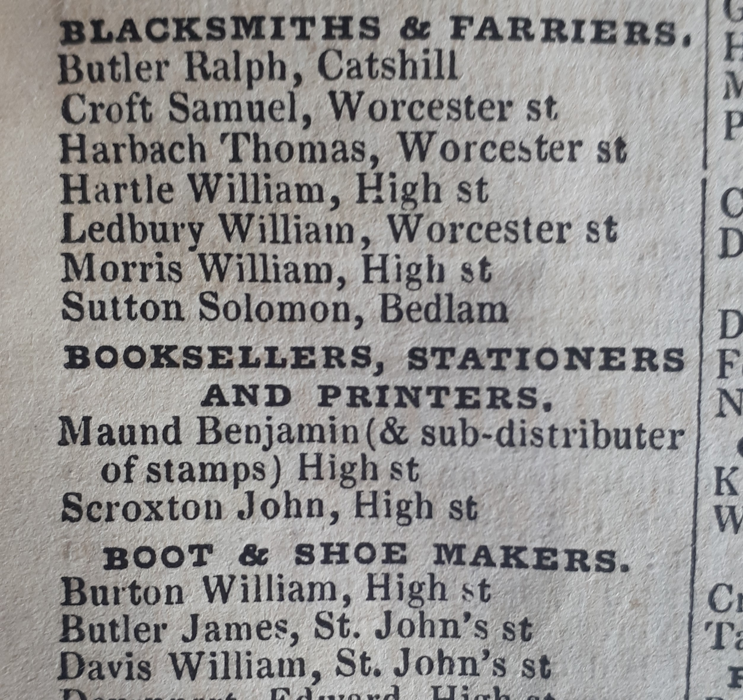 Mention of Maund's business in Slater's Directory, 1850