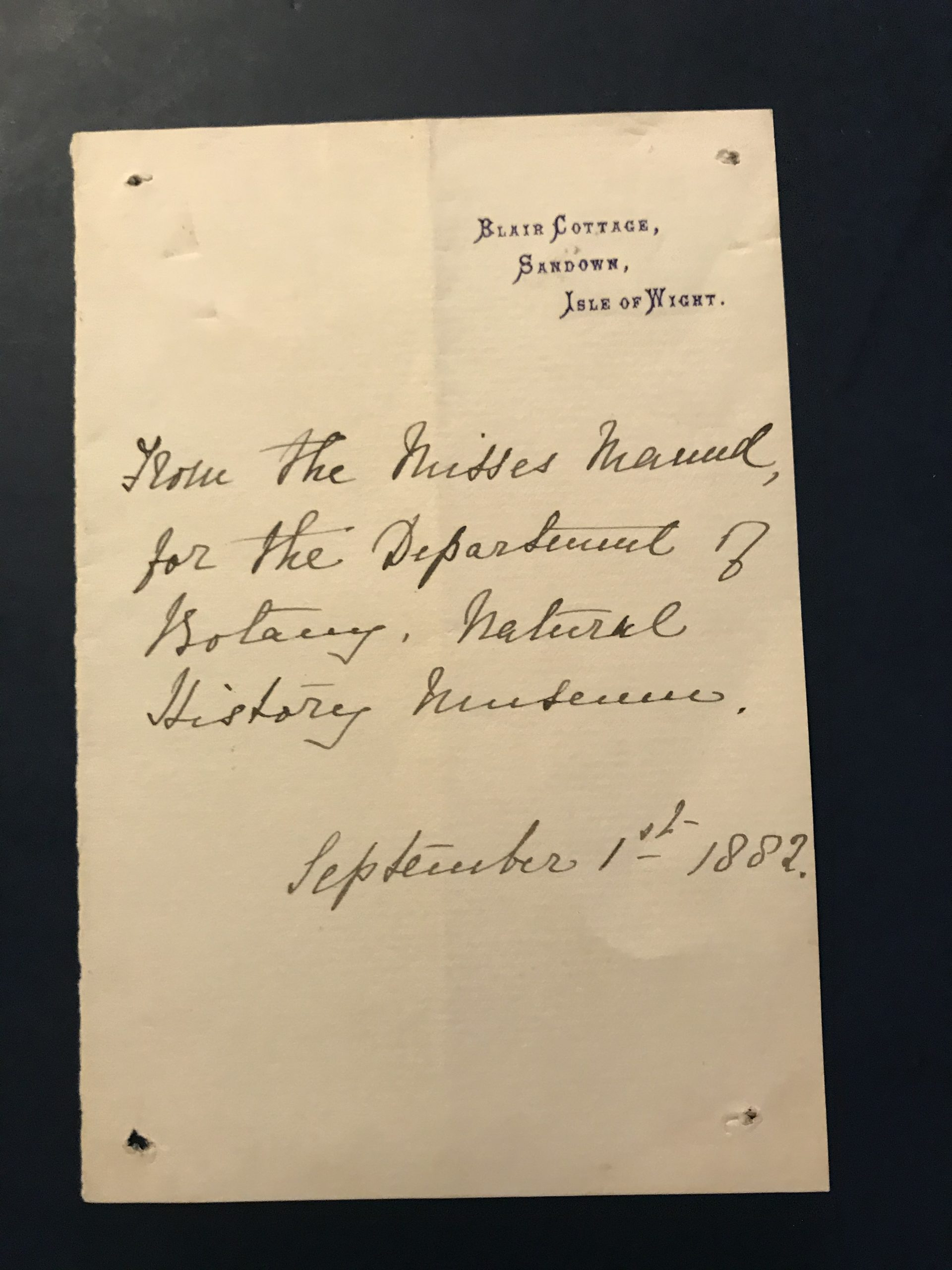 Note from Sarah Maund referring to The Misses Maund to the Keeper of Botanical Dept., Natural History Museum, September 2nd, 1882