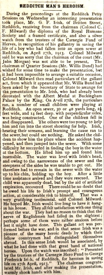 Redditch Indicator 1915: Article in the Redditch Indicator relating to George Irish's award for heroism from the Carnegie Trust given at the Redditch Petty Sessions in 1915.
