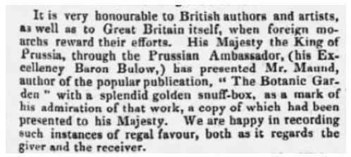 Reference to Maund being given a Golden Snuff-Box by the King of Prussia in The Bury and Norwich Post, 1834-03-12