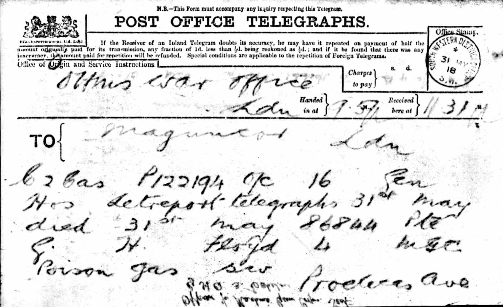 The National Archives, ref. WO363 Telegram on the death of G.H. Floyd. After being refused exemption from conscription, the telegram you did not want to get.