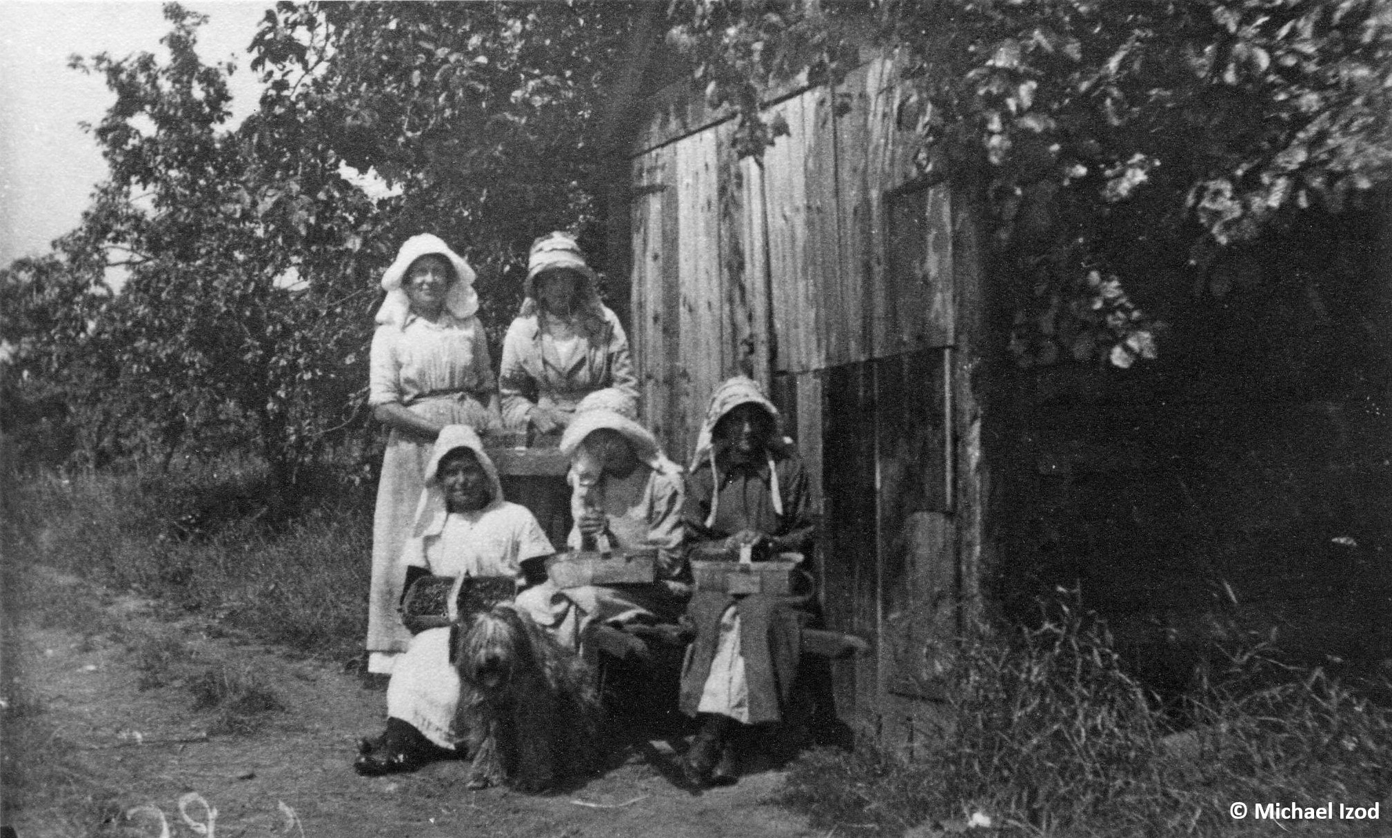 Five women with baskets of fruit by a wooden shed in an orchard