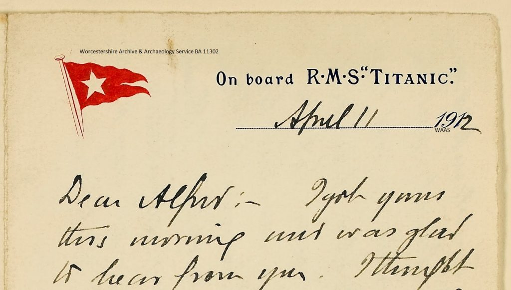 A snippet of the Titanic letter held in Worcestershire Archives held at referencenumberx705:1235 BA 11302