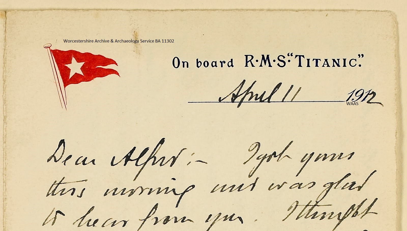 Letter from RMS Titanic