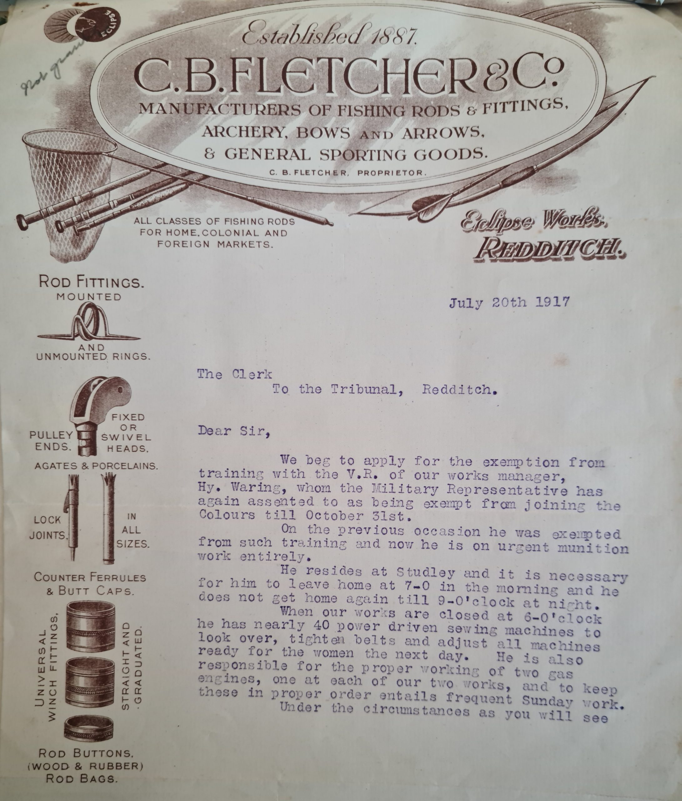 Worcestershire Archive and Archaeology Service BA10917/33(i)/1: Letter dated July 20, 1917
