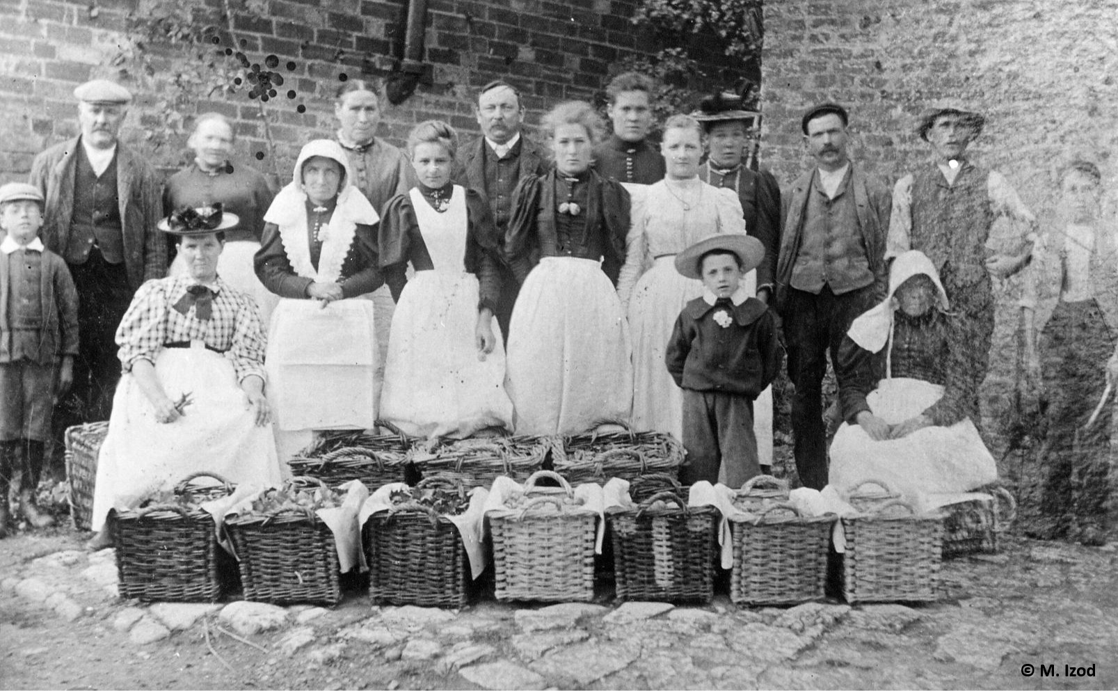 Posed workforce with filled crop baskets