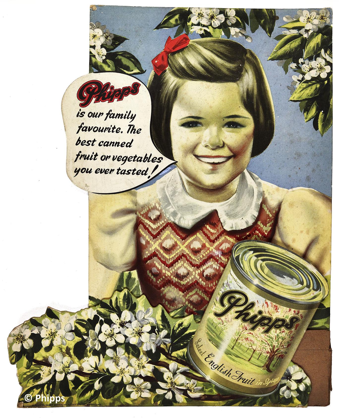 Advert for Phipps canned fruit & veg
